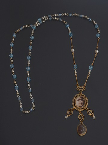 After Poussin's Sabine Women necklace found object blue stone