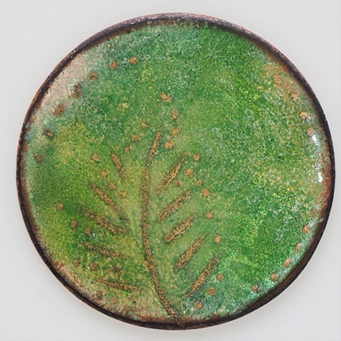 enamel green fern