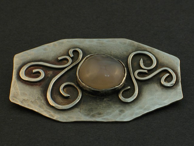 Silver Brooch with Handcut Cabachon by Advanced Metals student