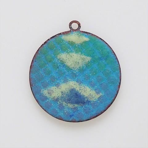 small enamel pendant triple white geo torchfired