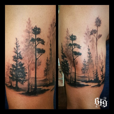 Black and Gray misty forest, half sleeve tattoo Southern California. San Diego, North Park, Pacific Beach, Mission Beach, City Heights, Hillcrest, El Cajon, Portland Oregon, Edinburgh Scotland, Ocean Beach