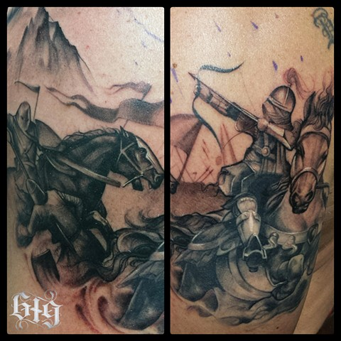Black and gray Knights archer shoulder cap tattoo Southern California. San Diego, North Park, Pacific Beach, Mission Beach, City Heights, Hillcrest, El Cajon, Portland Oregon, Edinburgh Scotland, Ocean Beach