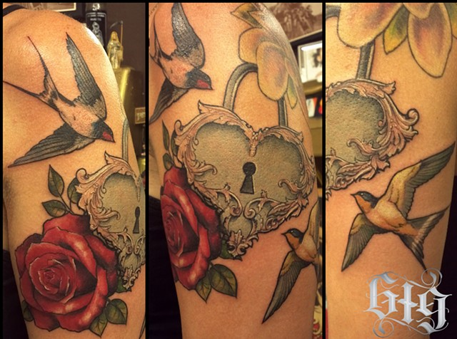 Sparrows and Heart Locket color tattoo half sleeve Southern California. San Diego, North Park, Pacific Beach, Mission Beach, City Heights, Hillcrest, El Cajon, Portland Oregon, Edinburgh Scotland, Ocean Beach