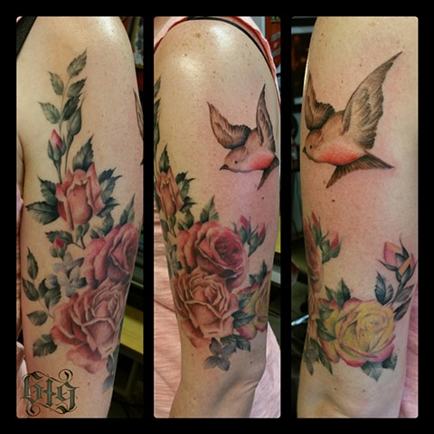 Victorian stationary inspired roses and Robin, half sleeve color colorful Southern California. San Diego, North Park, Pacific Beach, Mission Beach, City Heights, Hillcrest, El Cajon, Portland Oregon, Edinburgh Scotland, Ocean Beach
