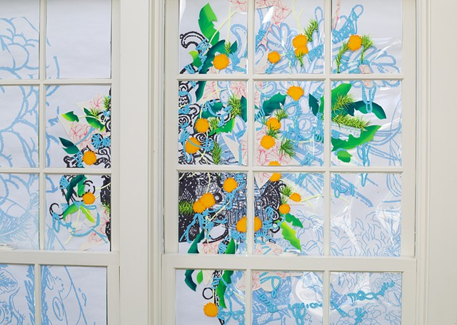 Wave hill, Installation, C-print, acetate, gouache and collage mounted on window panes