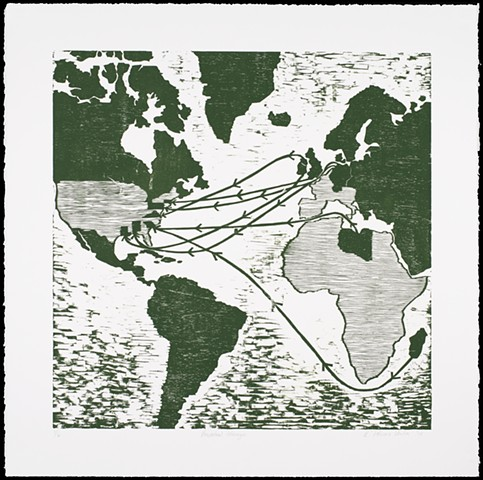 One layer woodblock print by Kristin Powers Nowlin of a world map tracing the artist's son's ancestors.