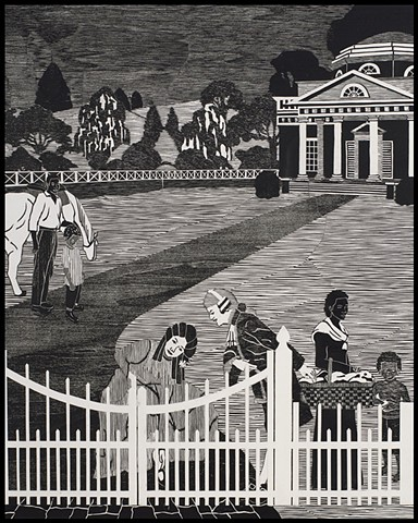 A collage of black and white woodblock prints by Kristin Powers Nowlin of figures in a plantation landscape.