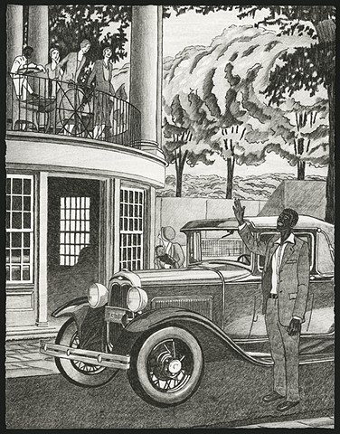 Black and white lithography print by Kristin Powers Nowlin of figures in a landscape based on a Ford ad from the 1930s.