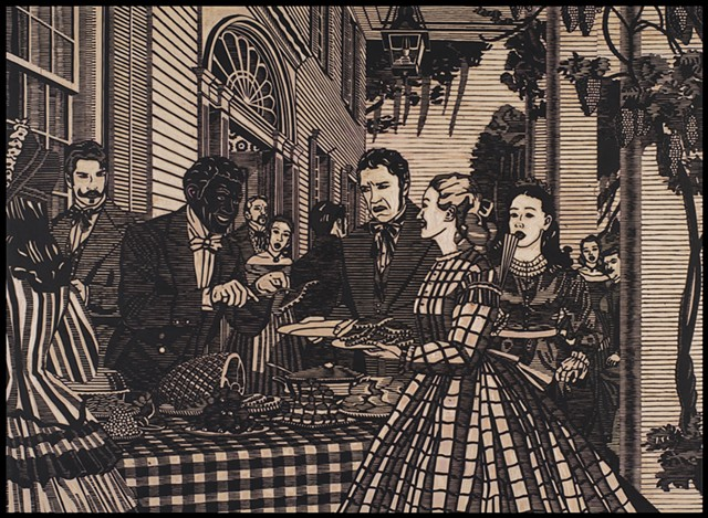 Black ink on carved woodblock by Kristin Powers Nowlin of figures outside a plantation home based on a Budweiser ad from the 1930s.