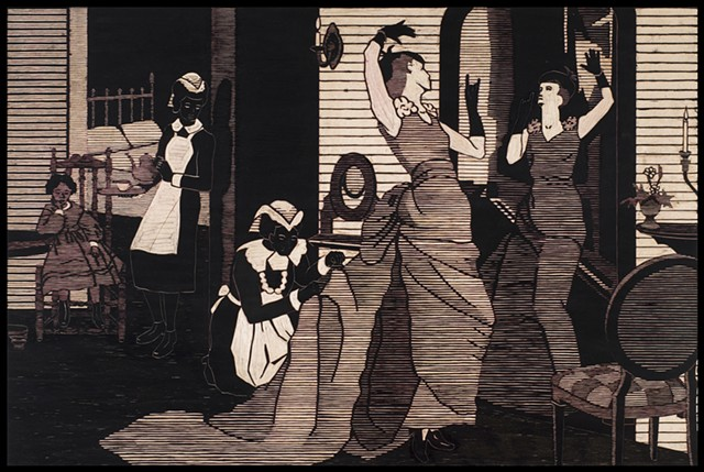 Black ink on carved woodblock by Kristin Powers Nowlin of figures in an interior space based on a Maxwell House Coffee ad from the 1920s.