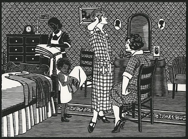 Black and white woodblock print by Kristin Powers Nowlin of figures in an interior scene based on an advertisement from a Linit starch ad from the 1920s.