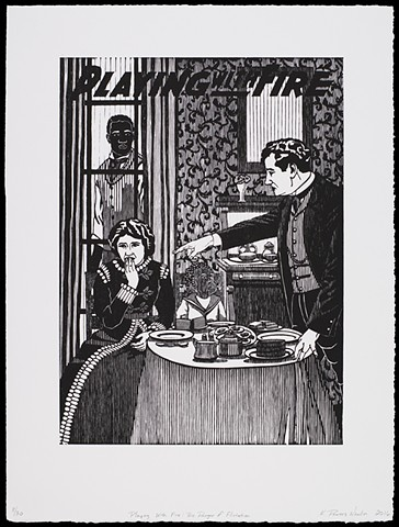 Black and white woodblock print by Kristin Powers Nowlin of figures in an interior space based on a movie poster from 1915.