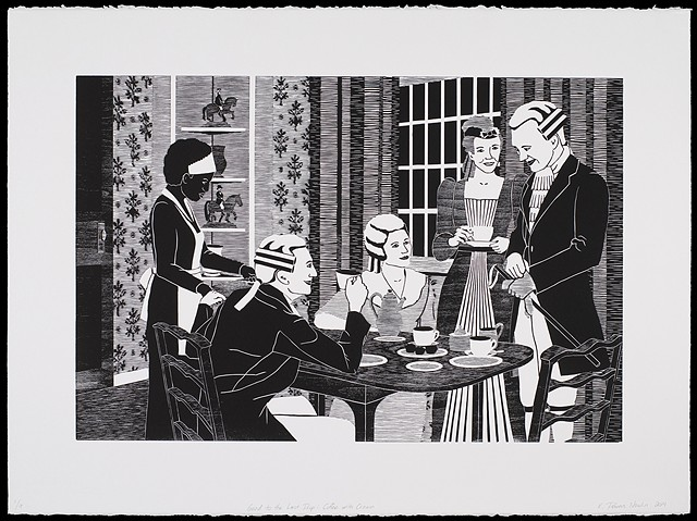 Black and white woodblock print by Kristin Powers Nowlin of figures in a interior space based on a Maxwell House Coffee ad from the 1930s.