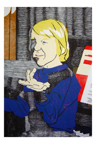 Color woodblock print of a photo of Kristin Powers Nowlin from 1980.