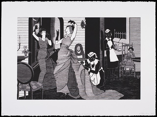 Black and white woodblock print by Kristin Powers Nowlin of figures in an interior space based on a Maxwell House Coffee ad from the 1920s.