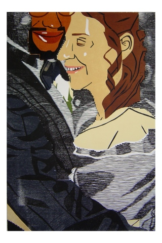 Color woodblock print of a photo of Kristin Powers Nowlin from 1994.
