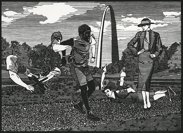 Black and white woodblock print by Kristin Powers Nowlin of figures in St. Louis based on a Pendleton ad from the 1980s.