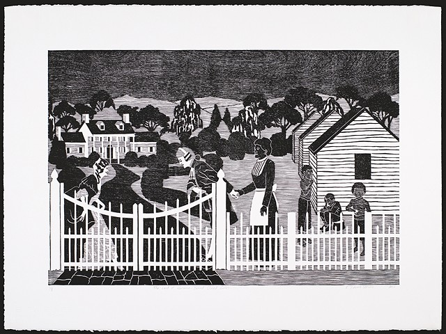 Black and white woodblock print by Kristin Powers Nowlin of figures in a landscape based on a Norfolk & Western Railroad tourism brochure for Virginia from the 1930s.