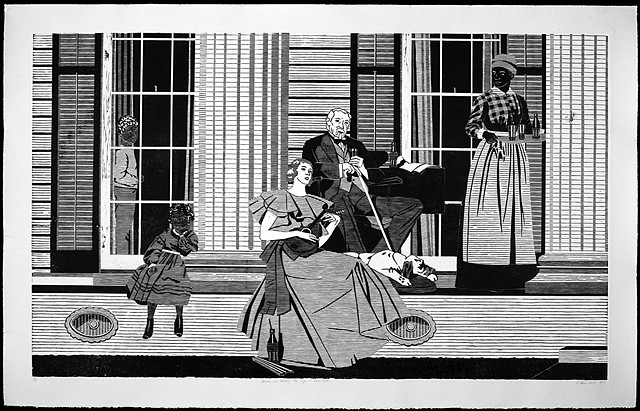 Black and White woodblock print by Kristin Powers Nowlin based on a Norman Rockwell Coca-Cola ad from the 1930s.