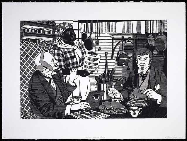 Black and white woodblock print by Kristin Powers Nowlin of figures in an interior scene based on an advertisement from an Aunt Jemima Pancake ad from the 1950s.