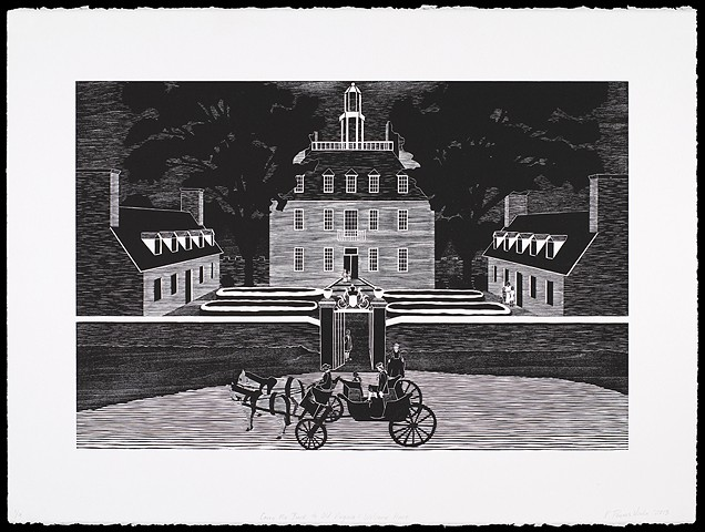 Black and white woodblock print by Kristin Powers Nowlin of figures in a landscape based on a tourism brochure for Virginia from the 1960s.