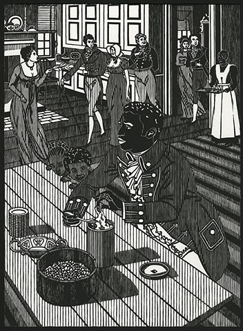 Black and white woodblock print by Kristin Powers Nowlin based on a cover of a recipe book for the Evaporated Milk Association from 1932.