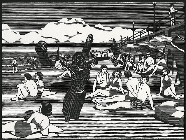 Black and white woodblock print by Kristin Powers Nowlin of figures in an beach scene based on a travel brochure from Virginia from the 1950s.