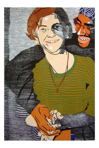 Color woodblock print of a photo of Kristin Powers Nowlin from 1992.