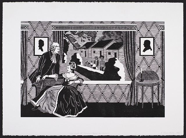 Black and white woodblock print by Kristin Powers Nowlin of figures in an interior space based on a Norfolk & Western Railroad tourism brochure for Virginia from the 1930s.