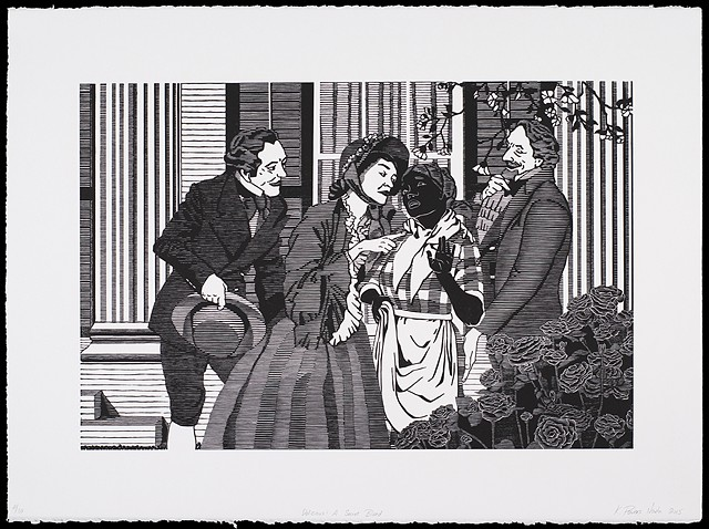 Black and white woodblock print by Kristin Powers Nowlin of figures in a scene outside a plantation home based on an Aunt Jemima Pancake Mix ad from the 1950s.