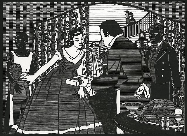 Black and white woodblock print by Kristin Powers Nowlin based on an advertisement for Nunnally's Candy of the South from 1920.