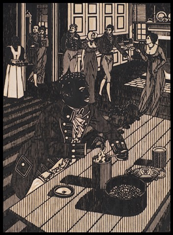 Black ink on carved woodblock by Kristin Powers Nowlin of figures in an interior space based on a cover of a recipe book for the Evaporated Milk Association from 1932.