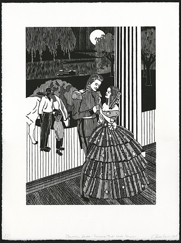 Black and white woodblock print by Kristin Powers Nowlin based on an Old South Toiletries advertisement from the 1930s.