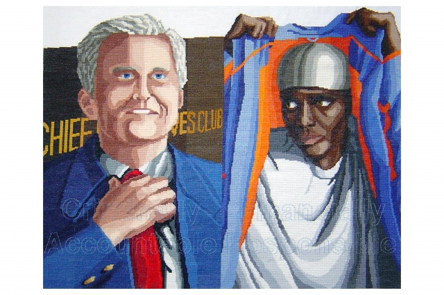 Cross-stitch on fabric of two figures and text about coded language and race.