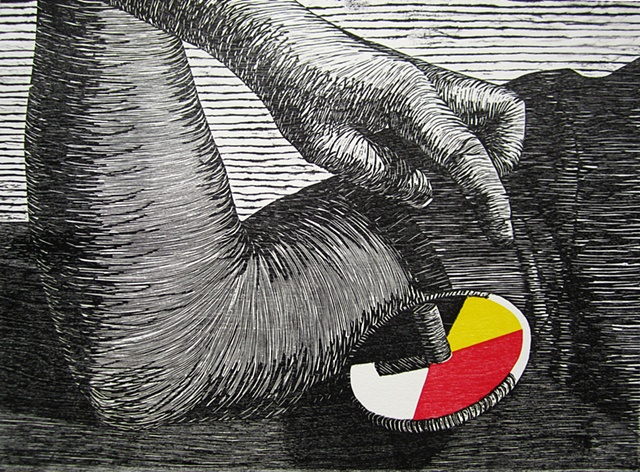 Three color woodblock print by Kristin Powers Nowlin of a spinning top, a hand, and an elbow.