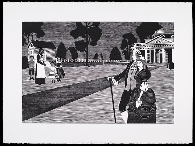 Black and white woodblock print by Kristin Powers Nowlin of figures in a landscape based on a tourism brochure for Virginia from the 1950s.
