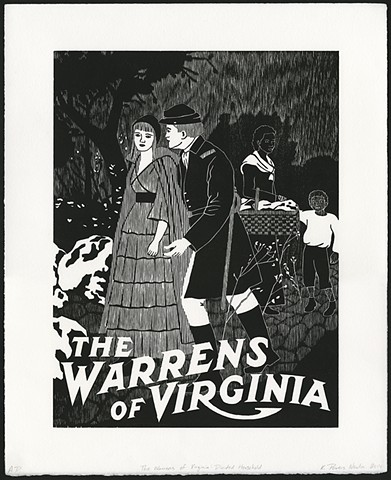 Black and white woodblock print by Kristin Powers Nowlin of figures in a landscape based on a movie poster from 1915.