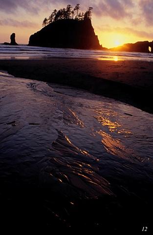 Coastline, sunset, Olympic Peninsula, seastacks