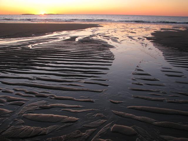 Coastal Maine sunrise, beach, sand