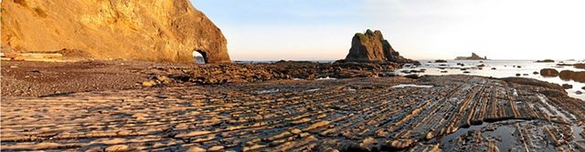 Washington coastline, sea arch, sunset, beach hiking