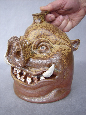 Devil Pig Whiskey Face Jug #3