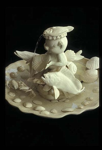 "Porcelain Fountain ""Flounder Fishing"""