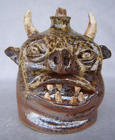 Devil Pig Whiskey Face Jug #2