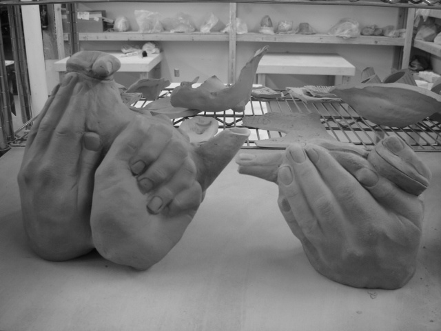 Hands Teapots, unglazed