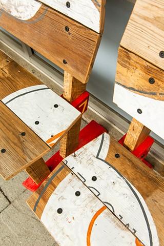 Homespun benches detail