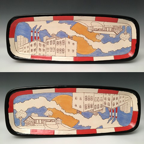 Rectangular platter with image of smoke connecting city with suburbia