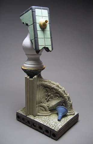 ceramic sculpture, pedestal