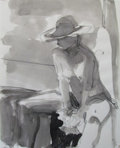 broad brimmed hat, hat, nude, seated on stool