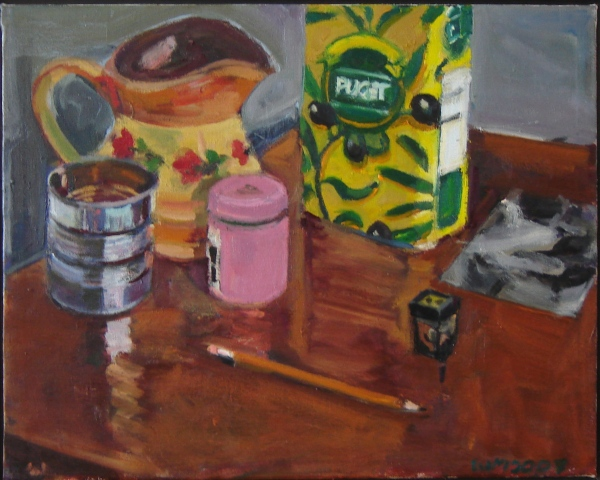 pitcher, olive oil can, Puget can, tin can, pink container, pencil, pencil sharpener, hello, orange red, brown, copper, black