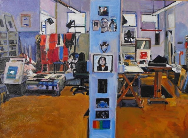 studio, painting, lights, rags drying, art work, center column, painting, drawing, black and white, blue walls, orange floor, tables, chairs